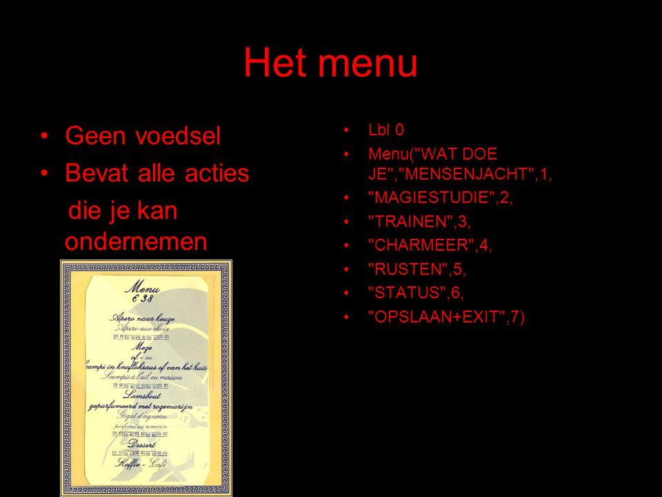 Het menu Geen voedsel Bevat alle acties die je kan ondernemen Lbl 0 Menu(