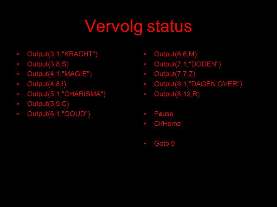 Vervolg status Output(3,1,