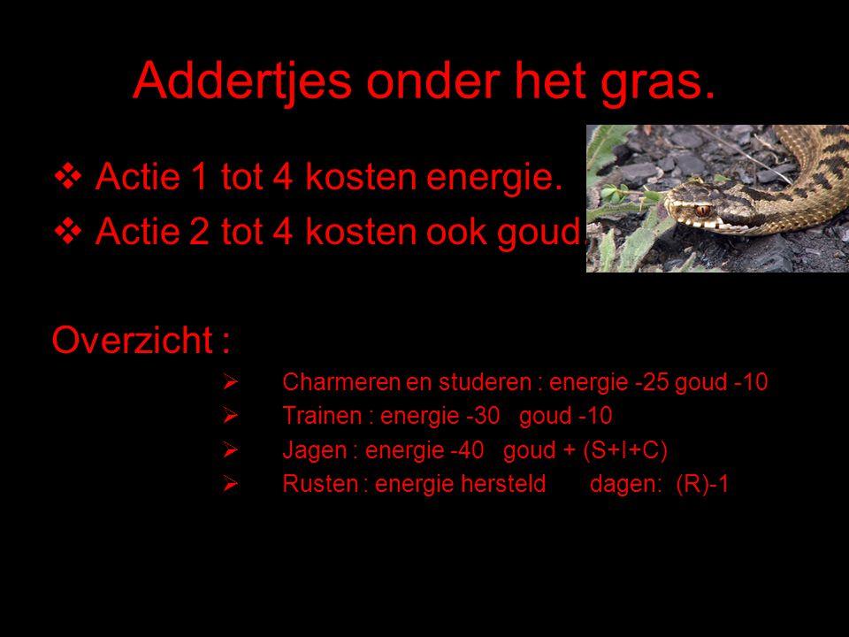 Addertjes onder het gras.  Actie 1 tot 4 kosten energie.  Actie 2 tot 4 kosten ook goud. Overzicht :  Charmeren en studeren : energie -25 goud -10
