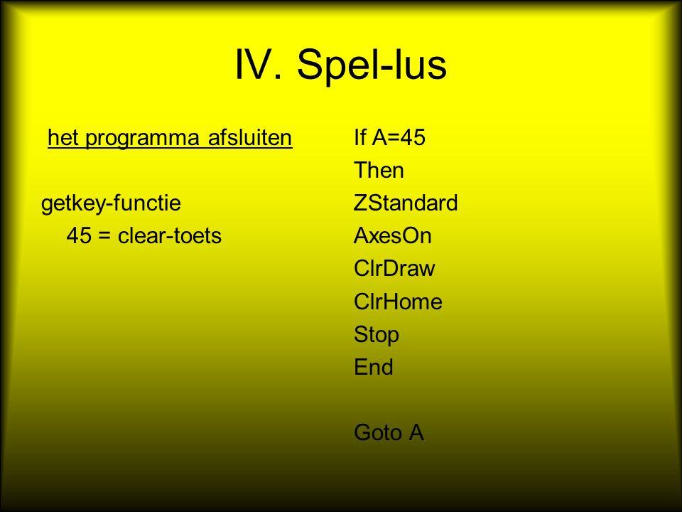 IV. Spel-lus het programma afsluiten getkey-functie 45 = clear-toets If A=45 Then ZStandard AxesOn ClrDraw ClrHome Stop End Goto A