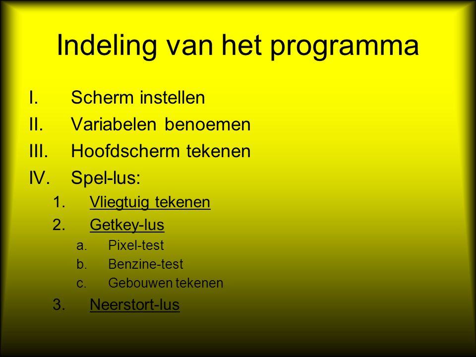 Indeling van het programma I.Scherm instellen II.Variabelen benoemen III.Hoofdscherm tekenen IV.Spel-lus: 1.Vliegtuig tekenen 2.Getkey-lus a.Pixel-tes