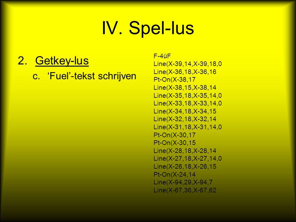 IV. Spel-lus 2.Getkey-lus c.'Fuel'-tekst schrijven F-4üF Line(X-39,14,X-39,18,0 Line(X-36,18,X-36,16 Pt-On(X-38,17 Line(X-38,15,X-38,14 Line(X-35,18,X