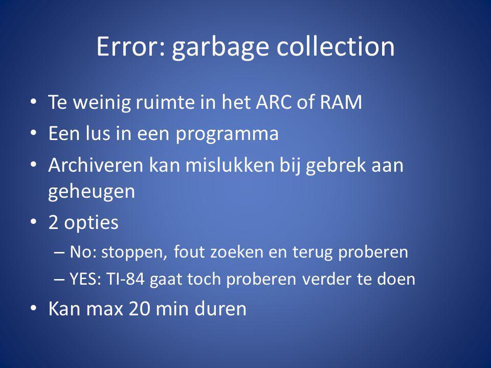 schijfopruiming MARKED TO DELETE Vars die in het geheugen staan zonder functie worden gedelete – Bv: kopie archive – Bv: Kopie ungroup