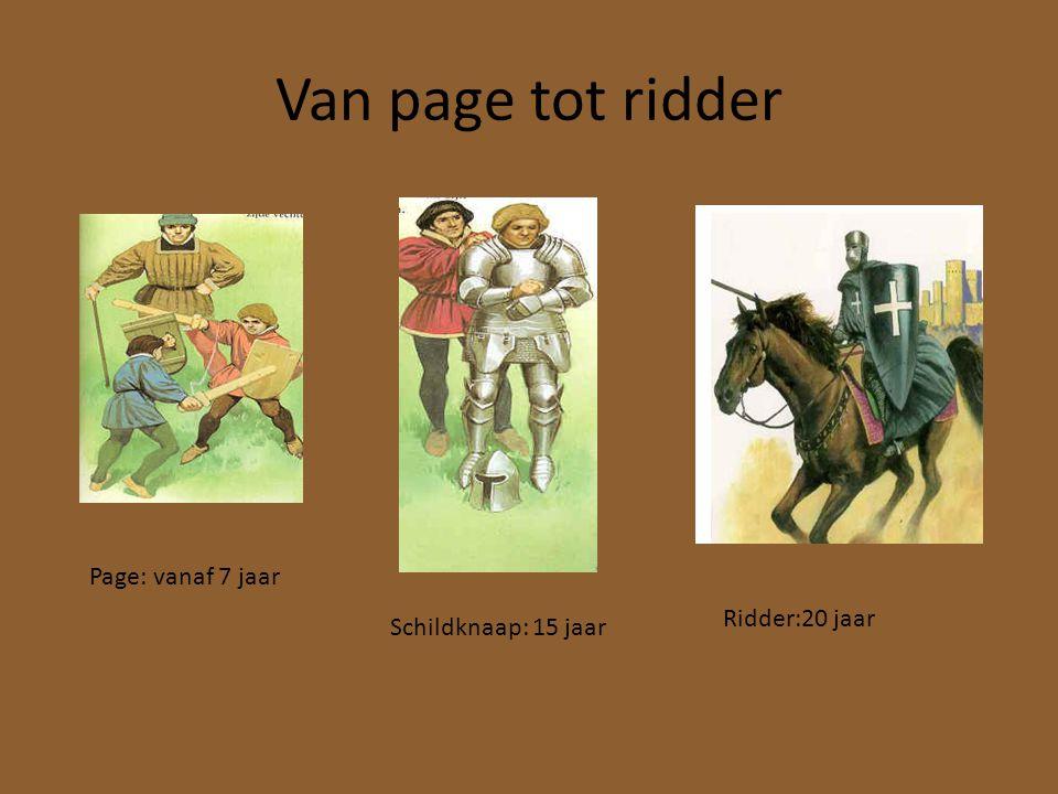 Van page tot ridder Page: vanaf 7 jaar Schildknaap: 15 jaar Ridder:20 jaar