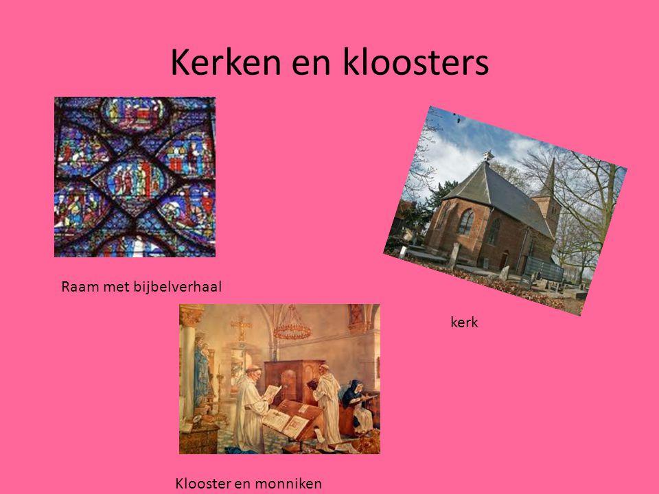 Kerken en kloosters Raam met bijbelverhaal Klooster en monniken kerk