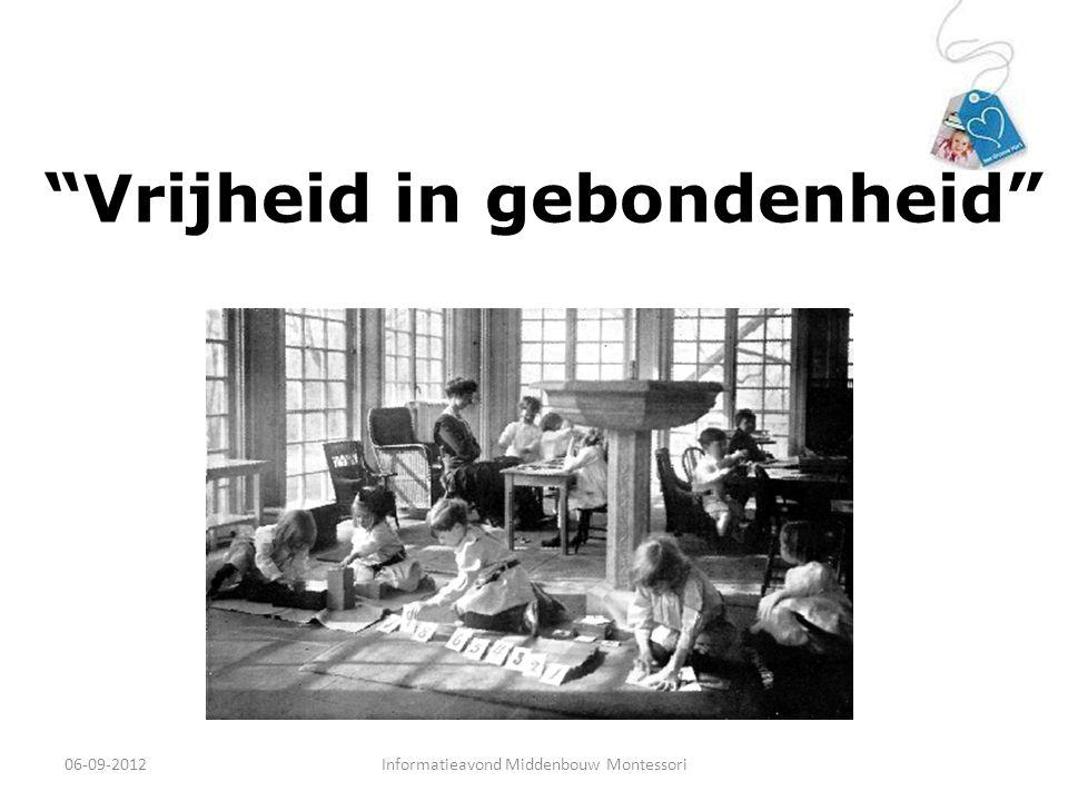"""""""Vrijheid in gebondenheid"""" 06-09-2012Informatieavond Middenbouw Montessori"""