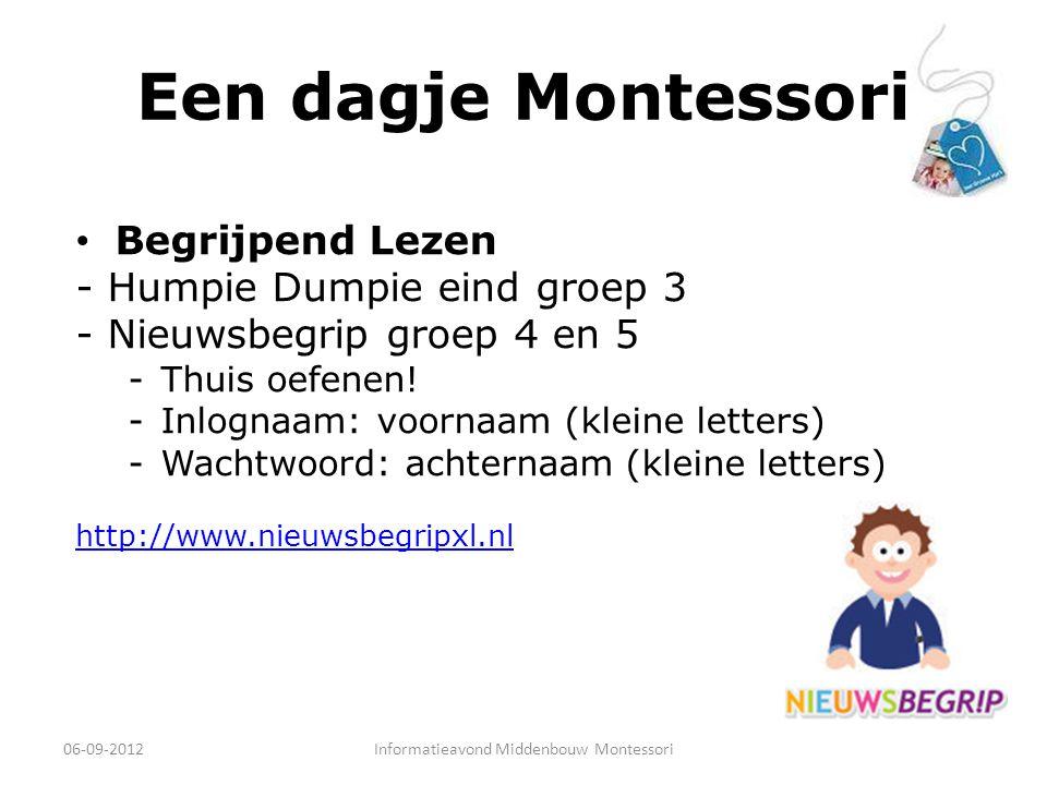 Een dagje Montessori Begrijpend Lezen - Humpie Dumpie eind groep 3 - Nieuwsbegrip groep 4 en 5 -Thuis oefenen! -Inlognaam: voornaam (kleine letters) -