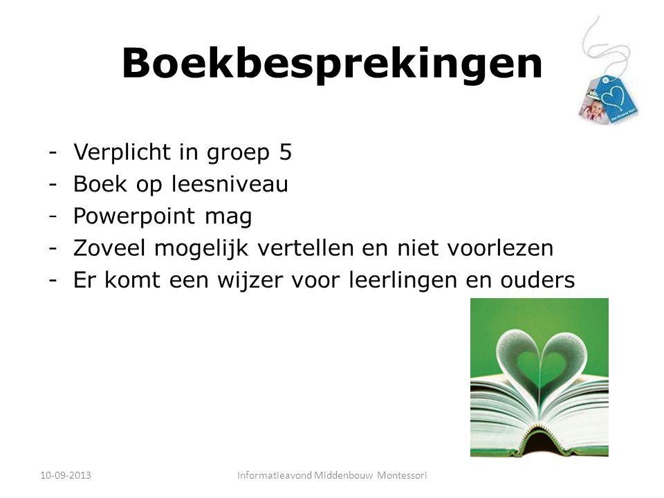 Boekbesprekingen 10-09-2013Informatieavond Middenbouw Montessori