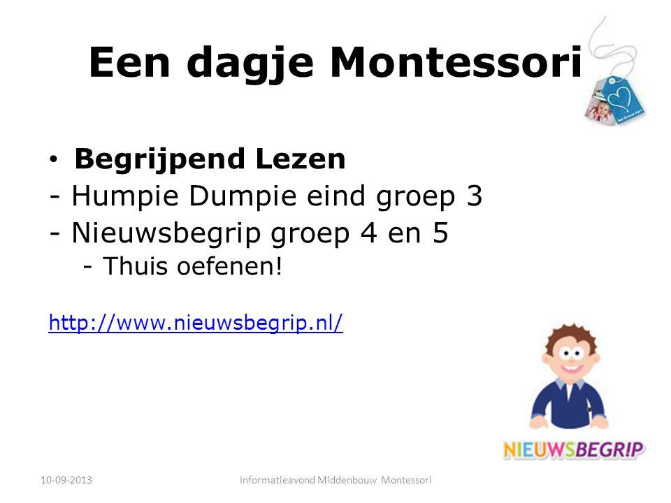Een dagje Montessori Rekenen Materiaal in combinatie met rekenrijk 10-09-2013Informatieavond Middenbouw Montessori