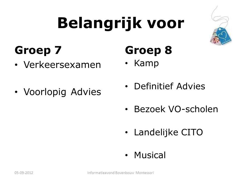 Belangrijk voor Groep 7 Verkeersexamen Voorlopig Advies Groep 8 Kamp Definitief Advies Bezoek VO-scholen Landelijke CITO Musical 05-09-2012Informatiea