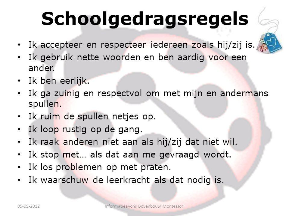 Schoolgedragsregels Ik accepteer en respecteer iedereen zoals hij/zij is. Ik gebruik nette woorden en ben aardig voor een ander. Ik ben eerlijk. Ik ga