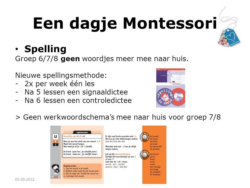 Een dagje Montessori Spelling Groep 6/7/8 geen woordjes meer mee naar huis. Nieuwe spellingsmethode: - 2x per week één les -Na 5 lessen een signaaldic