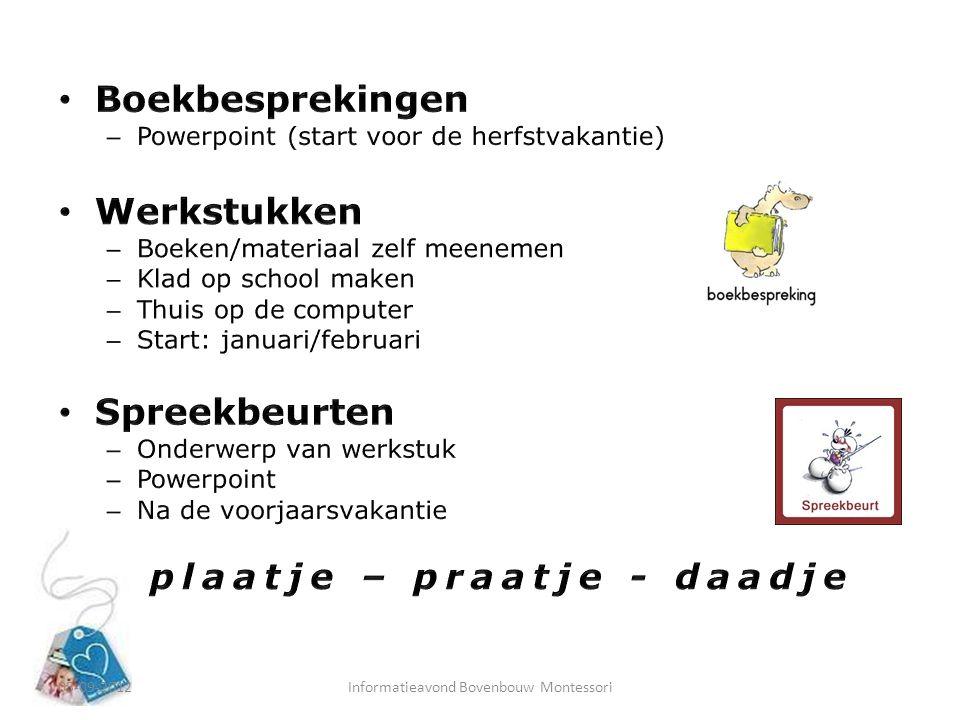 05-09-2012Informatieavond Bovenbouw Montessori