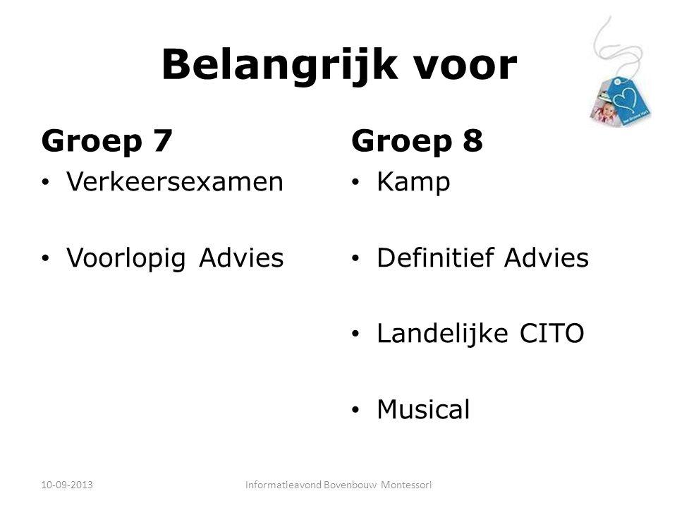 Belangrijk voor Groep 7 Verkeersexamen Voorlopig Advies Groep 8 Kamp Definitief Advies Landelijke CITO Musical 10-09-2013Informatieavond Bovenbouw Mon