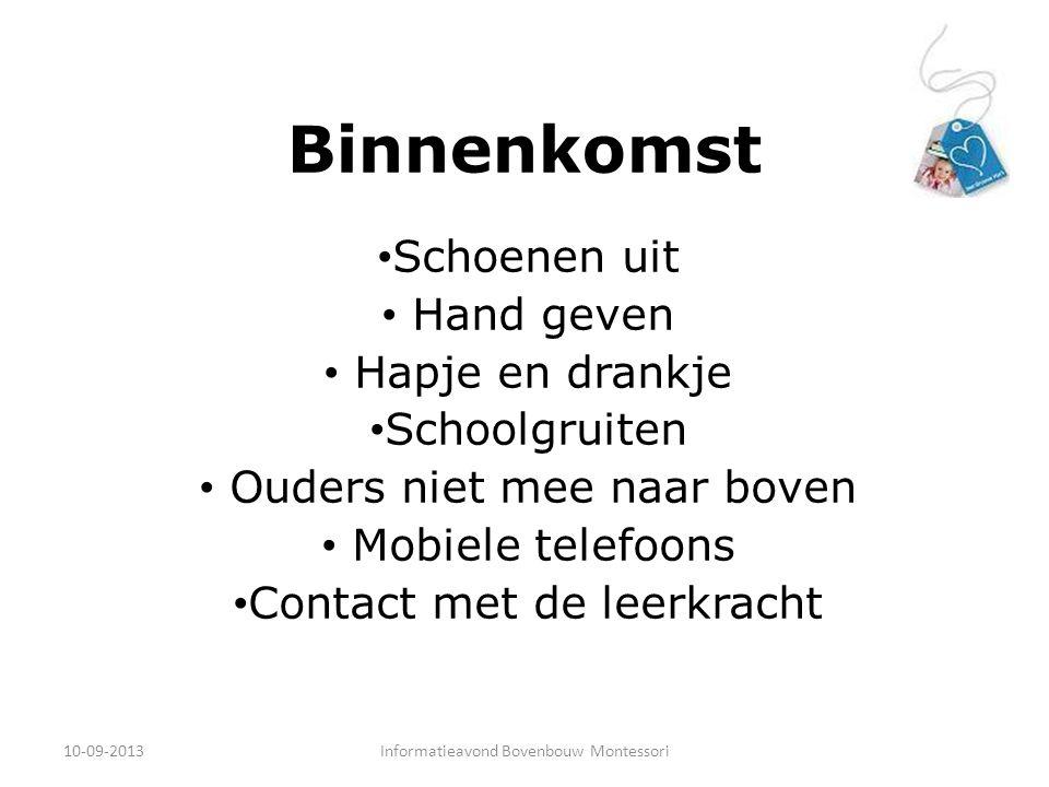 Binnenkomst Schoenen uit Hand geven Hapje en drankje Schoolgruiten Ouders niet mee naar boven Mobiele telefoons Contact met de leerkracht 10-09-2013In