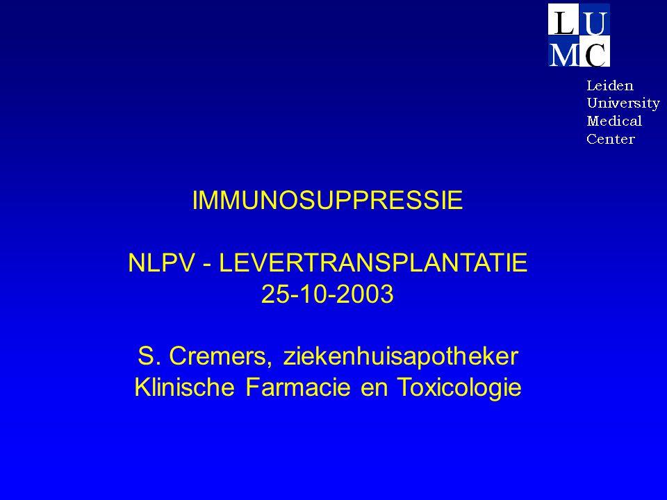 IMMUNOSUPPRESSIE NLPV - LEVERTRANSPLANTATIE 25-10-2003 S. Cremers, ziekenhuisapotheker Klinische Farmacie en Toxicologie