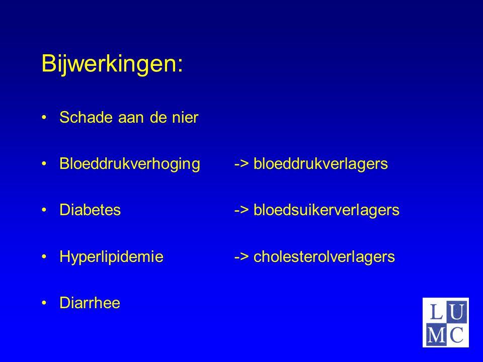 Bijwerkingen: Schade aan de nier Bloeddrukverhoging-> bloeddrukverlagers Diabetes-> bloedsuikerverlagers Hyperlipidemie-> cholesterolverlagers Diarrhe