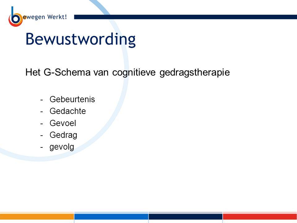 Bewustwording Het G-Schema van cognitieve gedragstherapie -Gebeurtenis -Gedachte -Gevoel -Gedrag -gevolg