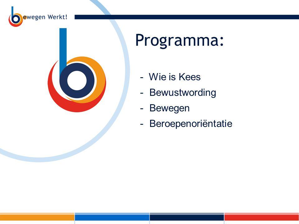 Programma: - Wie is Kees -Bewustwording -Bewegen -Beroepenoriëntatie