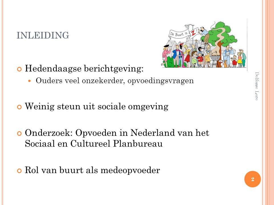 INLEIDING Hedendaagse berichtgeving: Ouders veel onzekerder, opvoedingsvragen Weinig steun uit sociale omgeving Onderzoek: Opvoeden in Nederland van h