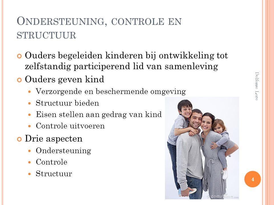 O NDERSTEUNING, CONTROLE EN STRUCTUUR Ouders begeleiden kinderen bij ontwikkeling tot zelfstandig participerend lid van samenleving Ouders geven kind