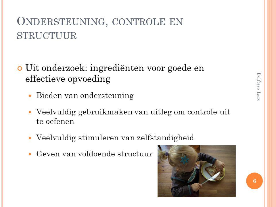 O NDERSTEUNING, CONTROLE EN STRUCTUUR Uit onderzoek: ingrediënten voor goede en effectieve opvoeding Bieden van ondersteuning Veelvuldig gebruikmaken