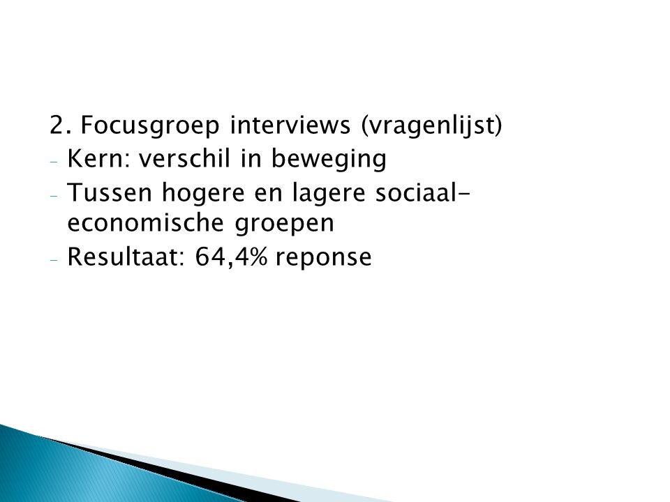 2. Focusgroep interviews (vragenlijst) - Kern: verschil in beweging - Tussen hogere en lagere sociaal- economische groepen - Resultaat: 64,4% reponse