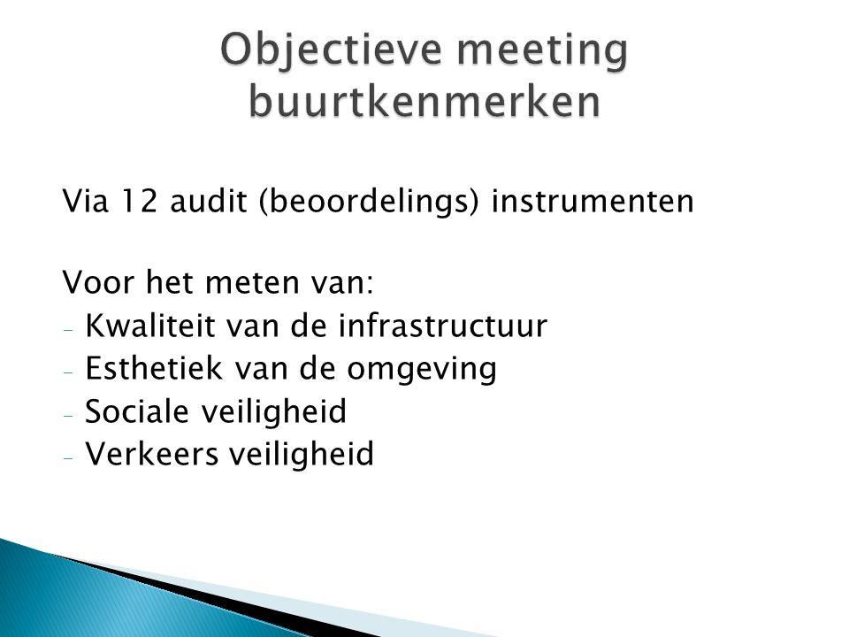 Via 12 audit (beoordelings) instrumenten Voor het meten van: - Kwaliteit van de infrastructuur - Esthetiek van de omgeving - Sociale veiligheid - Verk