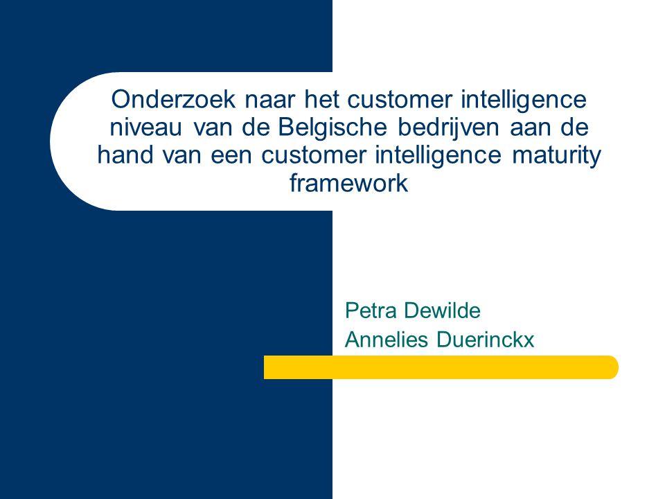 Onderzoek naar het customer intelligence niveau van de Belgische bedrijven aan de hand van een customer intelligence maturity framework Petra Dewilde Annelies Duerinckx