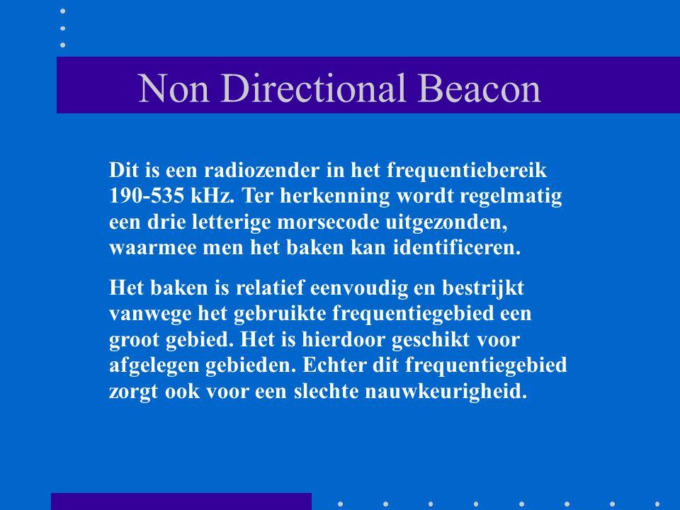 Non Directional Beacon Dit is een radiozender in het frequentiebereik 190-535 kHz. Ter herkenning wordt regelmatig een drie letterige morsecode uitgez
