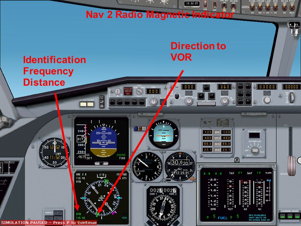 Identification Frequency Distance Nav 2 Radio Magnetic Indicator Direction to VOR