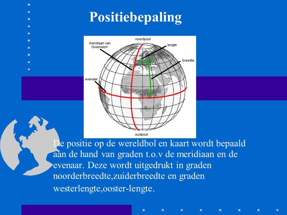 De positie op de wereldbol en kaart wordt bepaald aan de hand van graden t.o.v de meridiaan en de evenaar. Deze wordt uitgedrukt in graden noorderbree