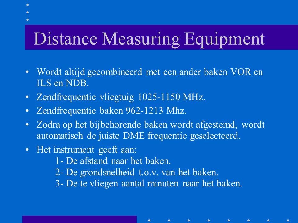 Distance Measuring Equipment Wordt altijd gecombineerd met een ander baken VOR en ILS en NDB. Zendfrequentie vliegtuig 1025-1150 MHz. Zendfrequentie b