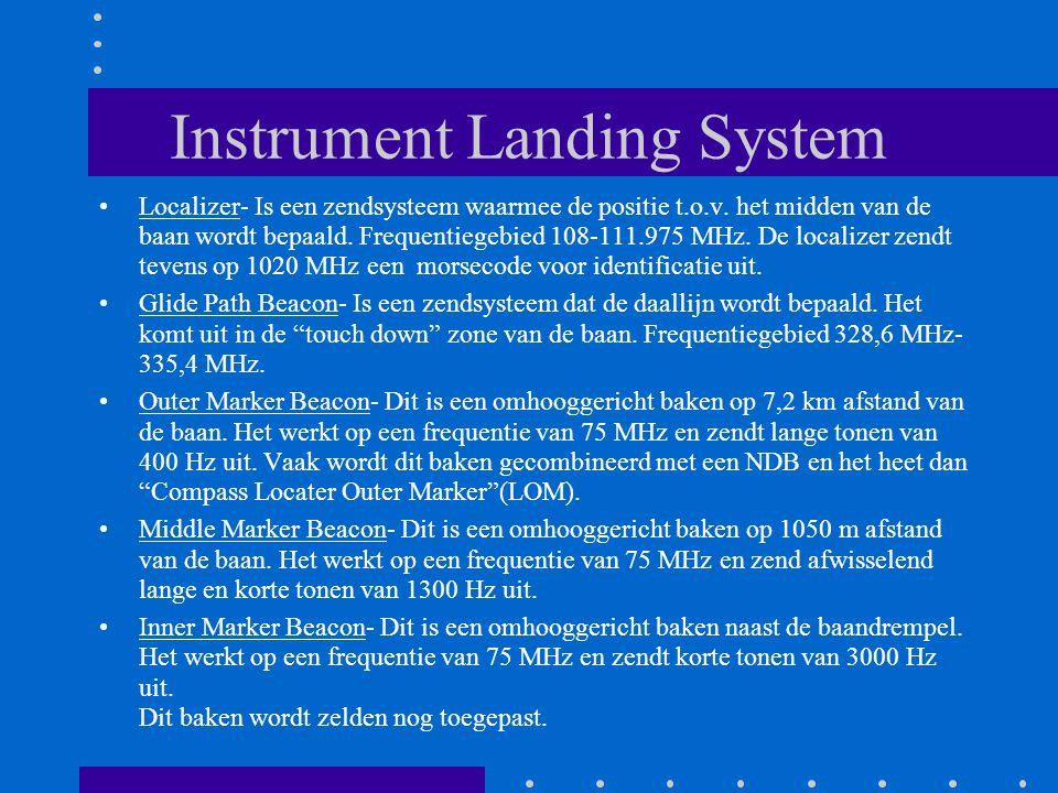 Instrument Landing System Localizer- Is een zendsysteem waarmee de positie t.o.v. het midden van de baan wordt bepaald. Frequentiegebied 108-111.975 M