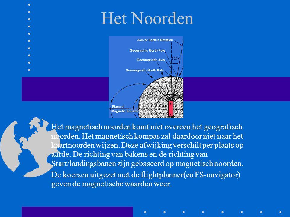 Het Noorden Het magnetisch noorden komt niet overeen het geografisch noorden. Het magnetisch kompas zal daardoor niet naar het kaartnoorden wijzen. De