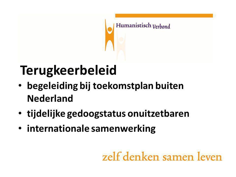 Terugkeerbeleid begeleiding bij toekomstplan buiten Nederland tijdelijke gedoogstatus onuitzetbaren internationale samenwerking