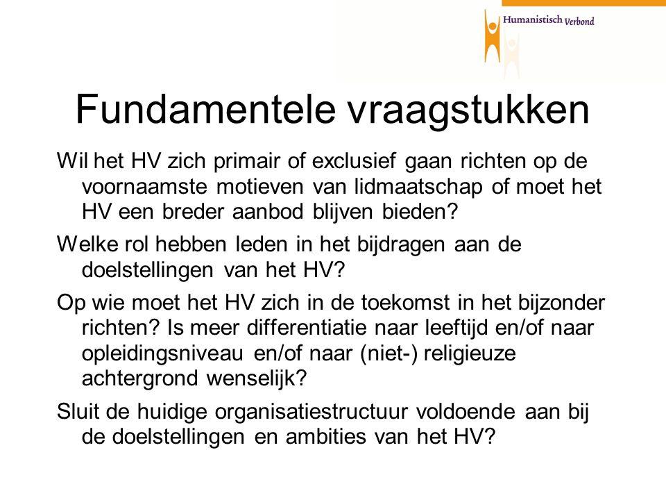 Fundamentele vraagstukken Wil het HV zich primair of exclusief gaan richten op de voornaamste motieven van lidmaatschap of moet het HV een breder aanbod blijven bieden.