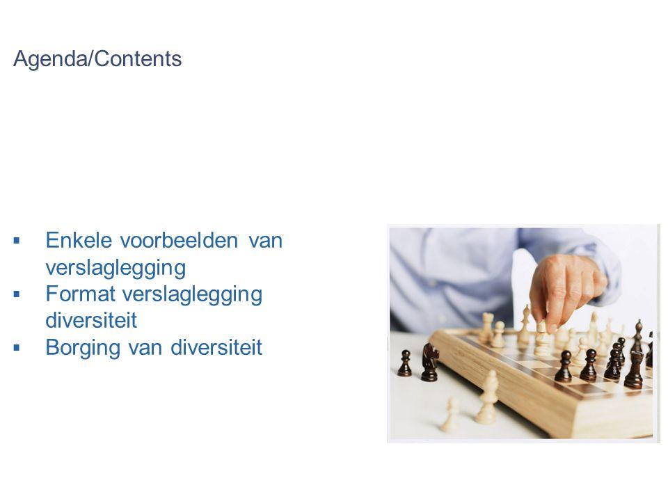 Agenda/Contents  Enkele voorbeelden van verslaglegging  Format verslaglegging diversiteit  Borging van diversiteit