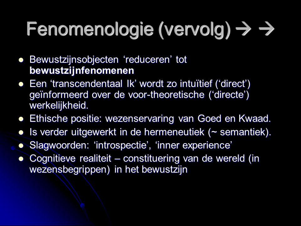 Fenomenologie - Husserl (grondlegger)   1859-1938