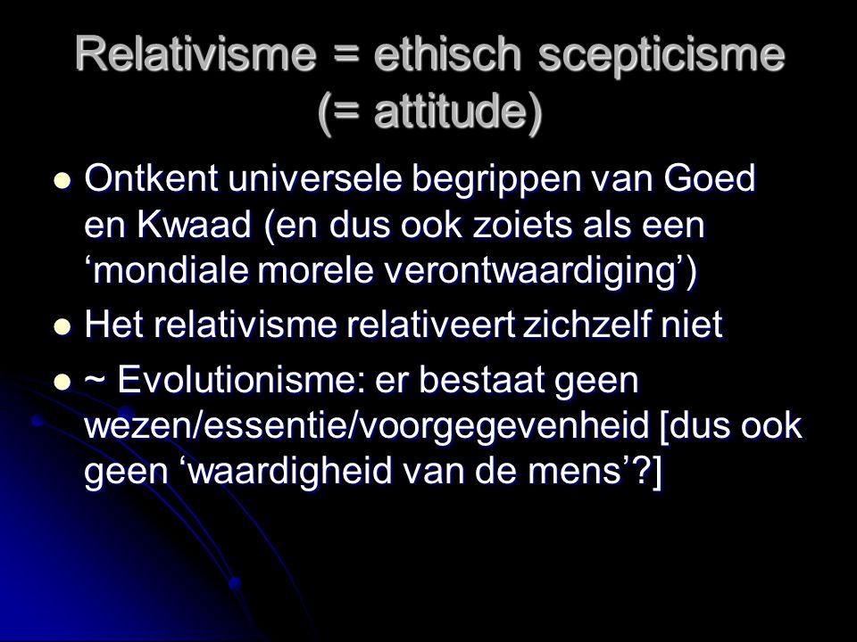 Situationisme (vervolg) Geen 'kenverhoudingen' maar relaties waarin de ander zich openbaart'; geen ethisch houvast, er is alleen maar een 'ontmoeting met de ander' waarin normativiteit spontaan en vanzelf ontstaat ('emergentie') Geen 'kenverhoudingen' maar relaties waarin de ander zich openbaart'; geen ethisch houvast, er is alleen maar een 'ontmoeting met de ander' waarin normativiteit spontaan en vanzelf ontstaat ('emergentie') Geen ethische verplichting; alles is intuitie en eigen geweten Geen ethische verplichting; alles is intuitie en eigen geweten Probleem: als er niets meer bijkomt  irrationeel Probleem: als er niets meer bijkomt  irrationeel