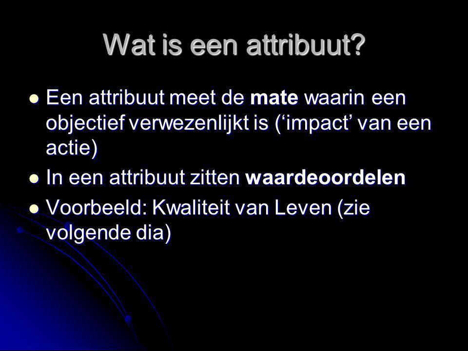 Wat is een attribuut? Een attribuut meet de mate waarin een objectief verwezenlijkt is ('impact' van een actie) Een attribuut meet de mate waarin een