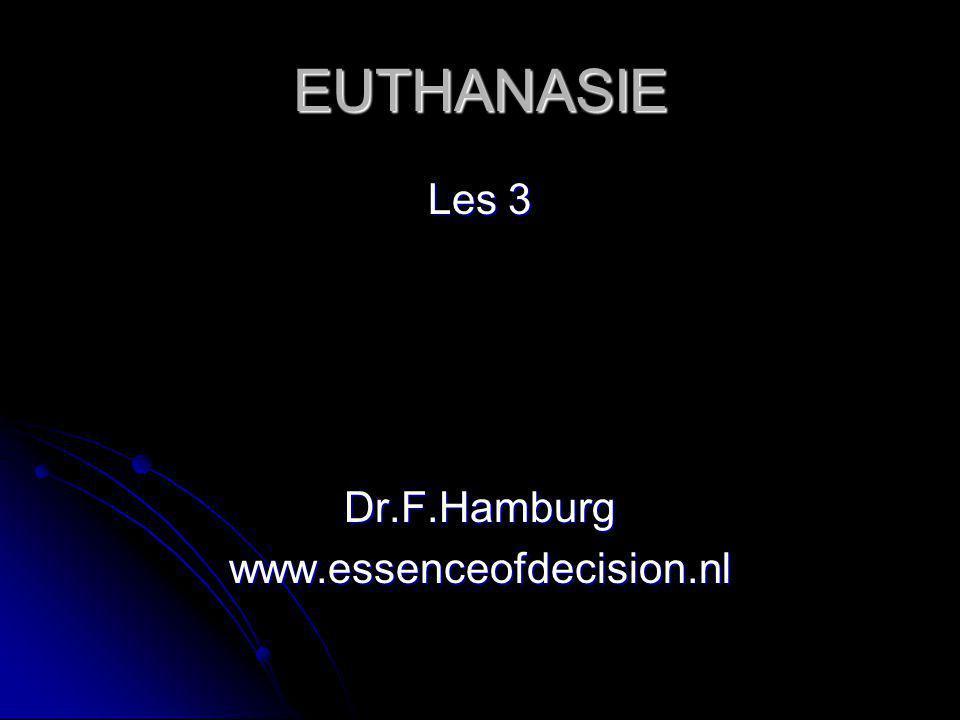 Internationale situatie Nergens in de wereld is euthanasie toegestaan, behalve in de Benelux Nergens in de wereld is euthanasie toegestaan, behalve in de Benelux Situatie in Denemarken: geen euthanasie (= dood 'zonder zorg') Situatie in Denemarken: geen euthanasie (= dood 'zonder zorg') Hulp bij zelfdoding (een minder kwaad dan euthanasie) niet strafbaar in bijvoorbeeld Duitsland, Frankrijk, Zwitserland, en Oregon (VS) Hulp bij zelfdoding (een minder kwaad dan euthanasie) niet strafbaar in bijvoorbeeld Duitsland, Frankrijk, Zwitserland, en Oregon (VS) 27 juli 2002: Nederland berispt door VN (geen deugdelijke a priori procedure in de vorm van een palliatieve consultatie).