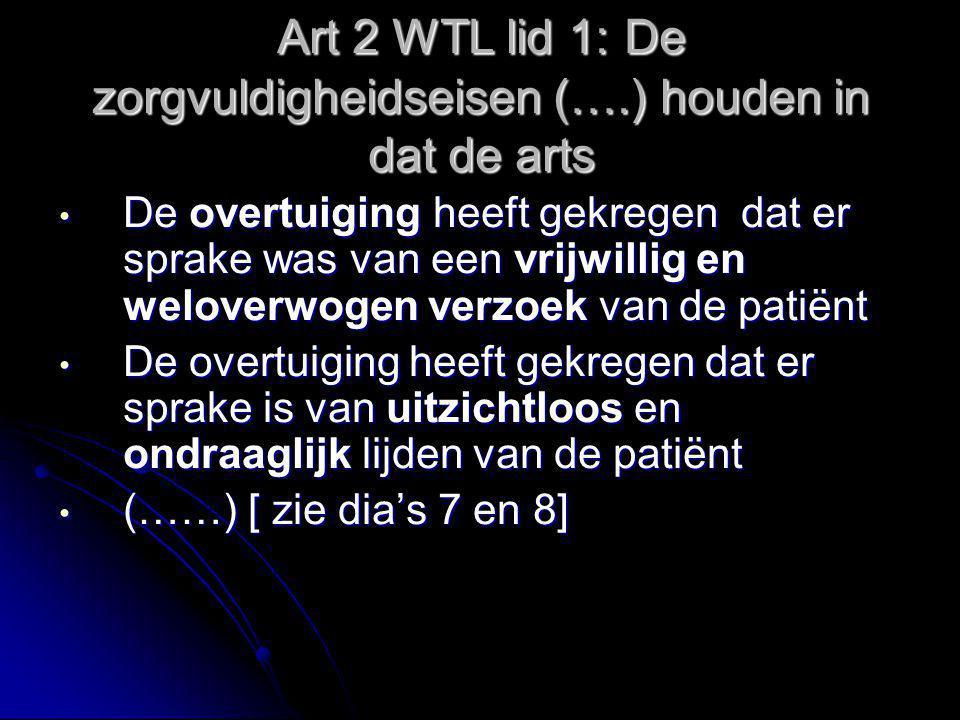 Art 2 WTL lid 1: De zorgvuldigheidseisen (….) houden in dat de arts De overtuiging heeft gekregen dat er sprake was van een vrijwillig en weloverwogen verzoek van de patiënt De overtuiging heeft gekregen dat er sprake is van uitzichtloos en ondraaglijk lijden van de patiënt (……) [ zie dia's 7 en 8]