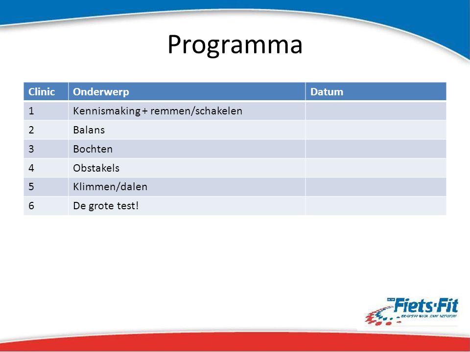 Programma ClinicOnderwerpDatum 1Kennismaking + remmen/schakelen 2Balans 3Bochten 4Obstakels 5Klimmen/dalen 6De grote test!