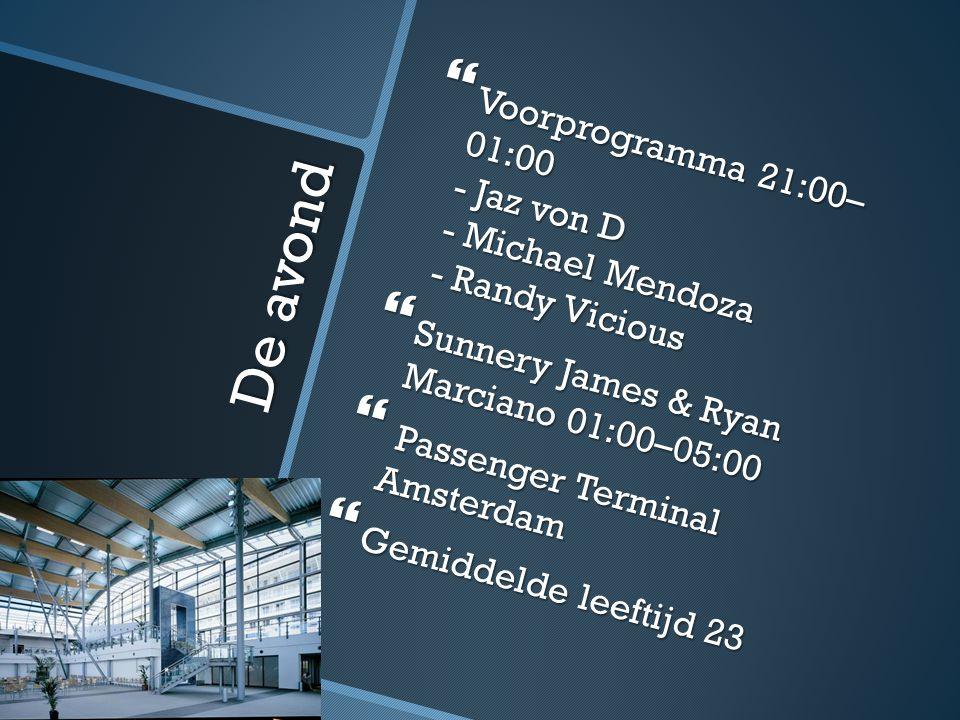 De avond  Voorprogramma 21:00– 01:00 - Jaz von D - Michael Mendoza - Randy Vicious  Sunnery James & Ryan Marciano 01:00–05:00  Passenger Terminal Amsterdam  Gemiddelde leeftijd 23