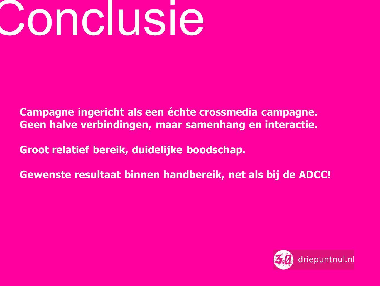 Conclusie Campagne ingericht als een échte crossmedia campagne. Geen halve verbindingen, maar samenhang en interactie. Groot relatief bereik, duidelij