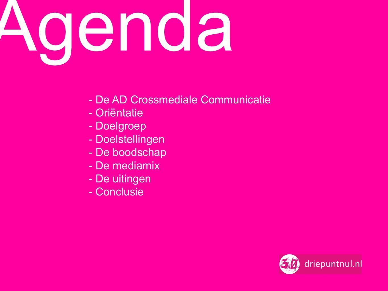 - De AD Crossmediale Communicatie - Oriëntatie - Doelgroep - Doelstellingen - De boodschap - De mediamix - De uitingen - Conclusie Agenda
