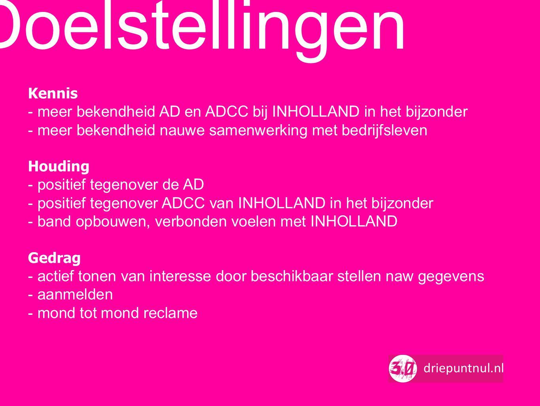 Kennis - meer bekendheid AD en ADCC bij INHOLLAND in het bijzonder - meer bekendheid nauwe samenwerking met bedrijfsleven Houding - positief tegenover