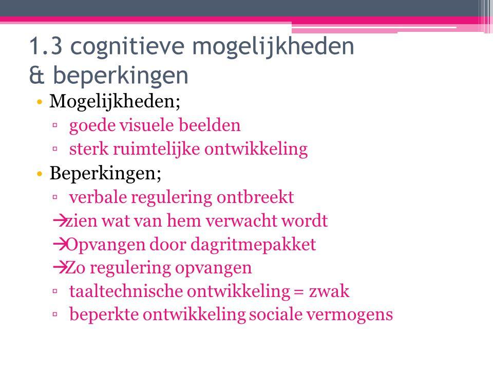 1.3 cognitieve mogelijkheden & beperkingen Mogelijkheden; ▫ goede visuele beelden ▫ sterk ruimtelijke ontwikkeling Beperkingen; ▫ verbale regulering o