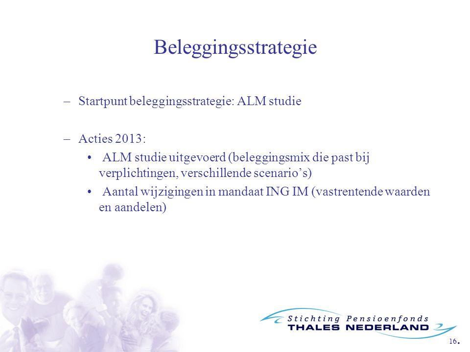 16. Beleggingsstrategie –Startpunt beleggingsstrategie: ALM studie –Acties 2013: ALM studie uitgevoerd (beleggingsmix die past bij verplichtingen, ver